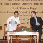 Prof. Pogge in discussion with Mr. Rahul Gandhi, Event :RGICS 20th Anniversary Lecture - Globalization Justice and Rights
