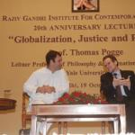 Prof. Thomas with Mr. Rahul Gandhi, Event :RGICS 20th Anniversary Lecture - Globalization Justice and Rights